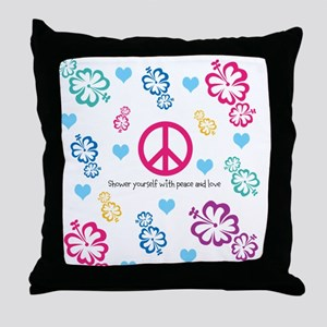 Shower yourself with Peace and Love Throw Pillow