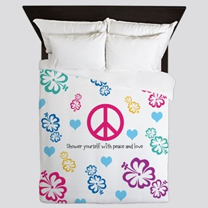 Shower yourself with Peace and Love Queen Duvet