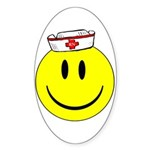 Registered Nurse Happy Face Sticker (Oval)