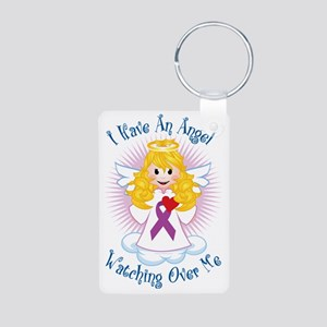 Angel-Watching-Over-Me-Pur Aluminum Photo Keychain