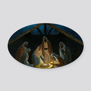 The Nativity Oval Car Magnet