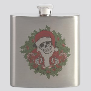Santa Skull with Wreath Flask