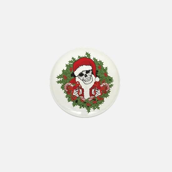 Santa Skull with Wreath Mini Button