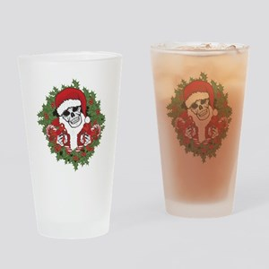 Santa Skull with Wreath Drinking Glass