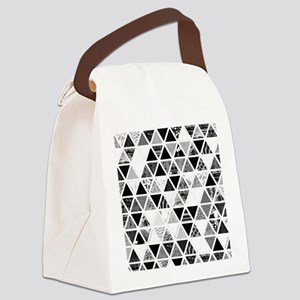 Monochrome Abstract Floral Triang Canvas Lunch Bag