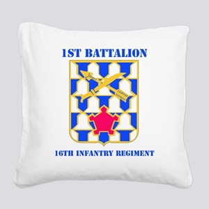 1-16TH IN RGT WITH TEXT Square Canvas Pillow