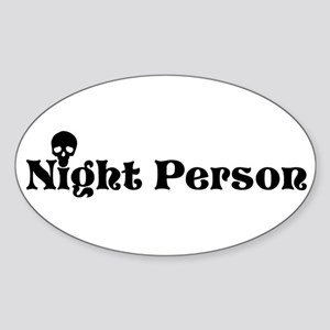 Night Person Oval Sticker