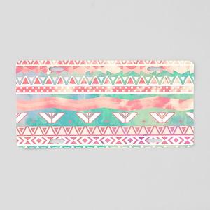 Girly Aztec Pattern Pink Tu Aluminum License Plate