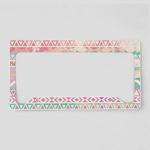 Girly Aztec Pattern Pink Turq License Plate Holder