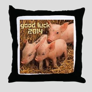 three piglets - good luck 2014 Throw Pillow