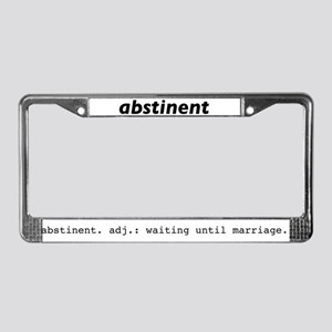 abstinent License Plate Frame
