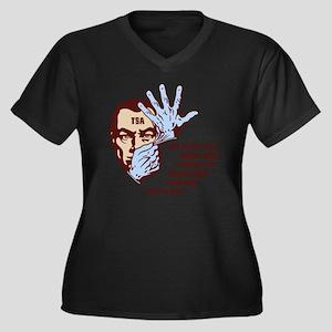 tsa-glove2-L Women's Plus Size Dark V-Neck T-Shirt
