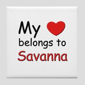 My heart belongs to savanna Tile Coaster