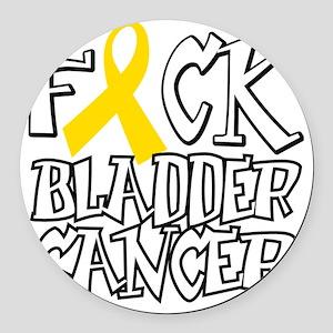 Fuck-Bladder-Cancer-blk Round Car Magnet