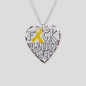 Fuck-Bladder-Cancer-blk Necklace Heart Charm