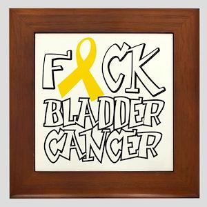 Fuck-Bladder-Cancer-blk Framed Tile