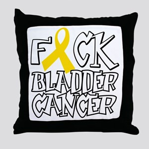 Fuck-Bladder-Cancer-blk Throw Pillow