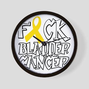 Fuck-Bladder-Cancer-blk Wall Clock