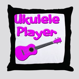 girls pink ukulele Throw Pillow