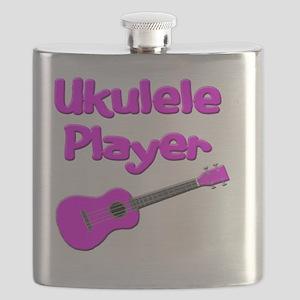 girls pink ukulele Flask