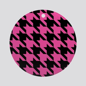 houndstooth-xl-pink_ipad Round Ornament