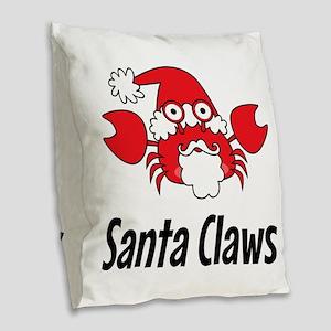 Santa Claws Burlap Throw Pillow