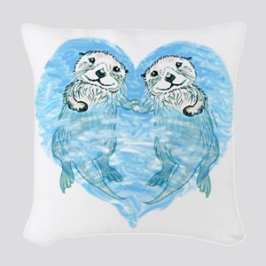 Sea Otters Holding Hands Woven Throw Pillow