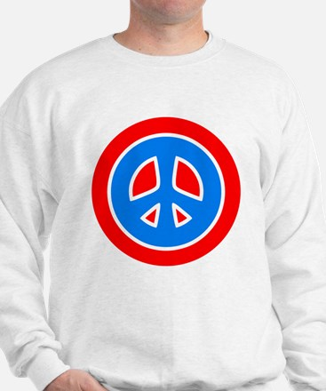 Peace Sign Red Blue Sweatshirt