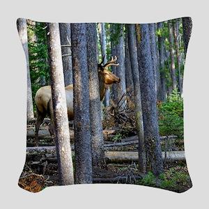 Bull Elk in forest Woven Throw Pillow