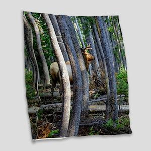 Bull Elk in forest Burlap Throw Pillow