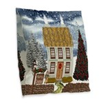 Christmas Cottage Burlap Throw Pillow