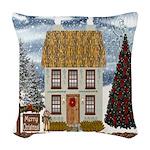 Christmas Cottage Woven Throw Pillow
