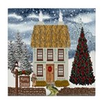 Christmas Cottage Tile Coaster