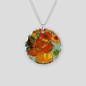 Van Gogh - Still Life Vase w Necklace Circle Charm