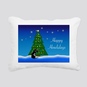 blk_white_dog_xmas Rectangular Canvas Pillow
