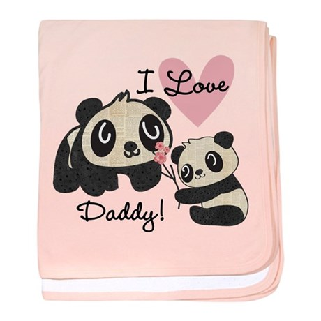 Pandas I Love Daddy baby blanket