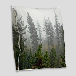 Misty forest Burlap Throw Pillow