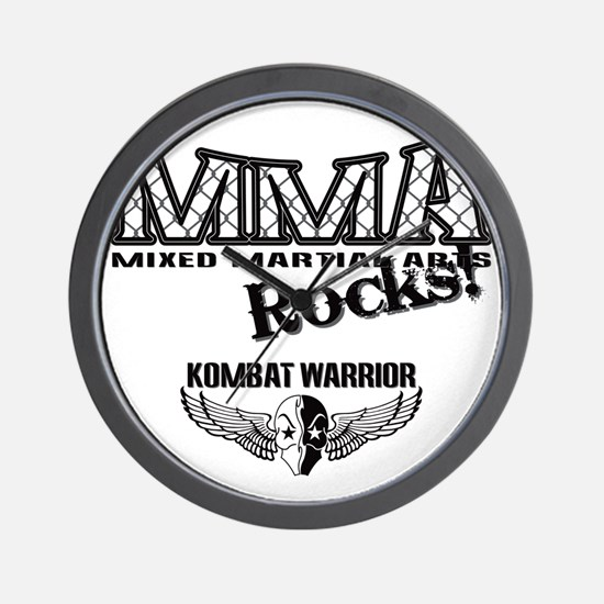 MMA ROCKS CAGE BLACK-GREY Wall Clock