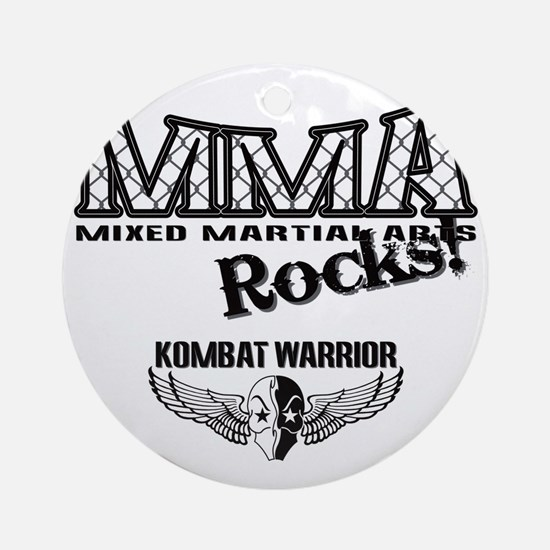 MMA ROCKS CAGE BLACK-GREY Round Ornament