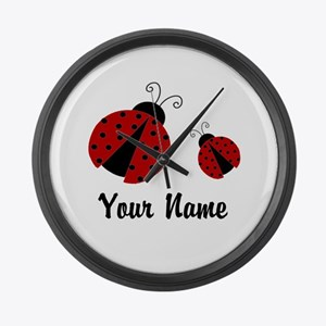 Ladybugs Red Personalized Large Wall Clock