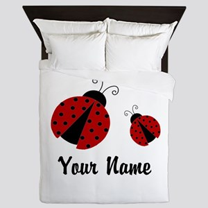 Ladybugs Red Personalized Queen Duvet