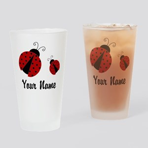 Ladybugs Red Personalized Drinking Glass