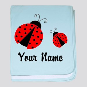 Ladybugs Red Personalized baby blanket