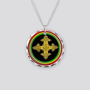 ethipia cross rasta performa Necklace Circle Charm