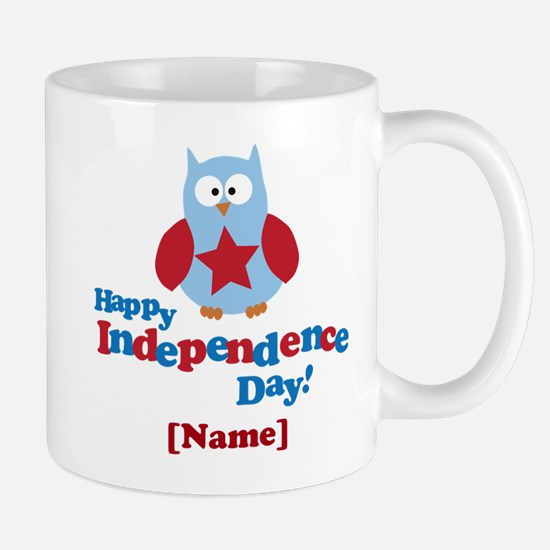 Personalized Happy Independence Day Owl Mug