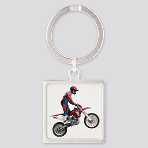 Flying Cycle Square Keychain