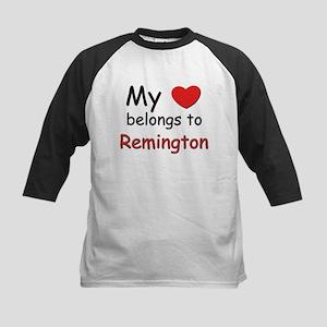 My heart belongs to remington Kids Baseball Jersey