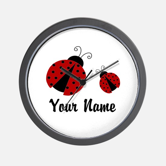 Ladybugs Red Personalized Wall Clock