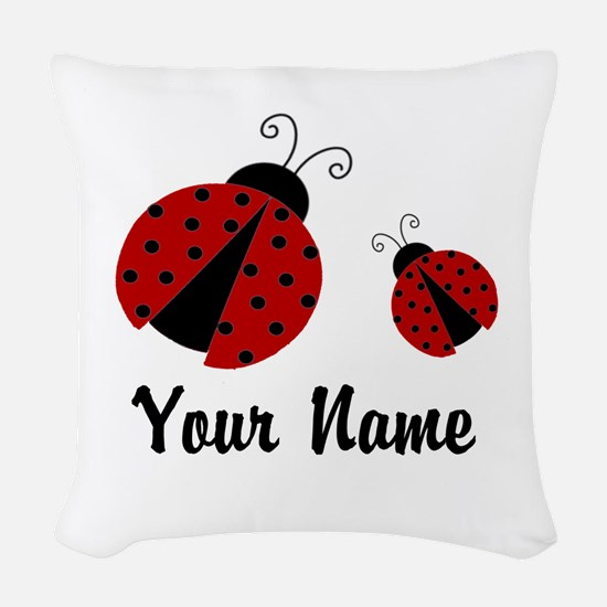 Ladybugs Red Personalized Woven Throw Pillow