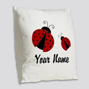 Ladybugs Red Personalized Burlap Throw Pillow